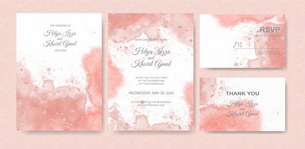 Fondo hermoso de la acuarela de la tarjeta de boda