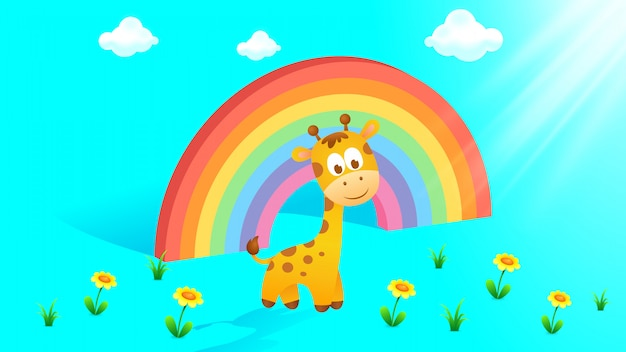 Fondo hermoso arco iris con linda jirafa bebé