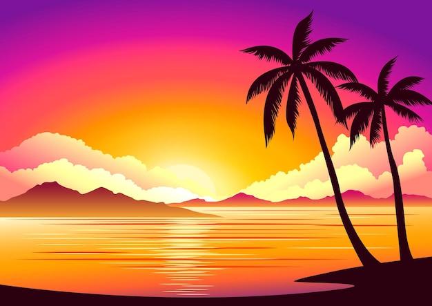 Fondo hermoso atardecer en la playa