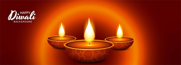 Fondo hermoso de la bandera de la celebración de la lámpara de aceite de diwali diya