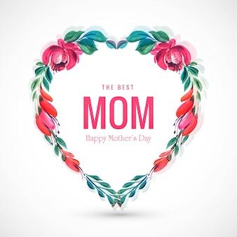 Fondo hermoso del corazón de las flores decorativas de la tarjeta del día de madres