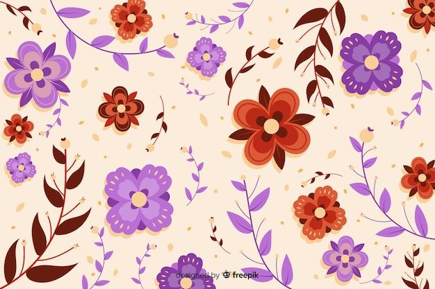 Fondo hermoso de flores cuadradas violetas y rojas