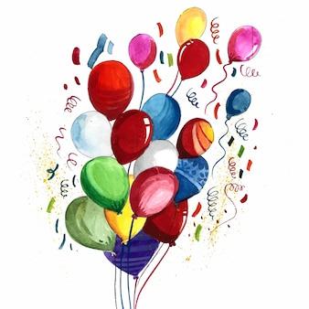 Fondo hermoso de los globos coloridos de la acuarela que vuelan