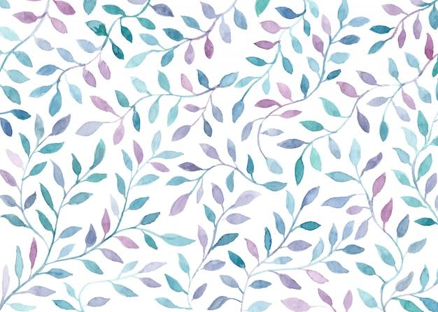 Fondo hermoso de hojas de acuarela