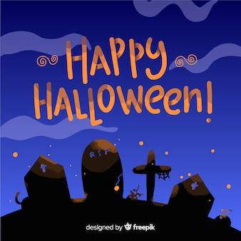 Fondo hermoso de lettering de feliz halloween