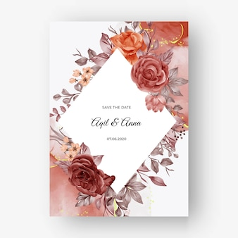 Fondo hermoso del marco de la caída del otoño de la rosa para la invitación de la boda