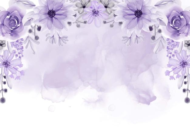 Fondo hermoso marco floral con acuarela de flores púrpuras suaves