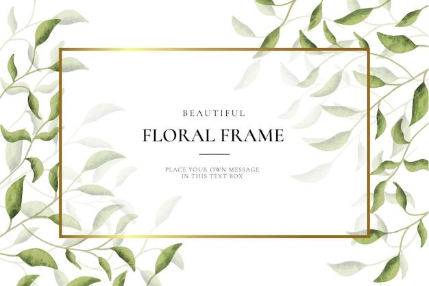 Fondo hermoso marco floral con hojas