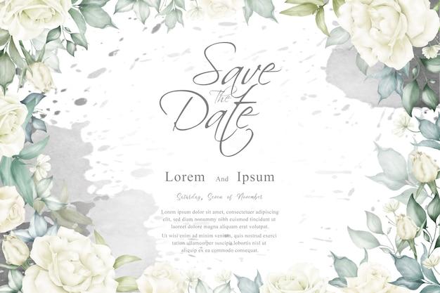 Fondo hermoso marco floral con plantilla de salpicaduras de acuarela para invitación de boda