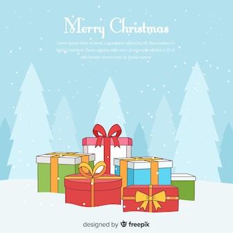 Fondo hermoso de navidad en estilo dibujo a mano