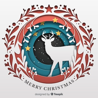 Fondo hermoso de navidad en estilo de papel