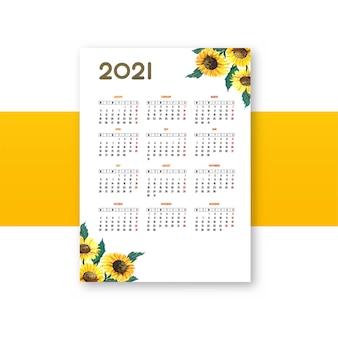 Fondo hermoso de la plantilla del calendario de la flor 2021