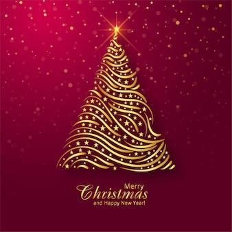 Fondo hermoso de la tarjeta del árbol de oro de la feliz navidad