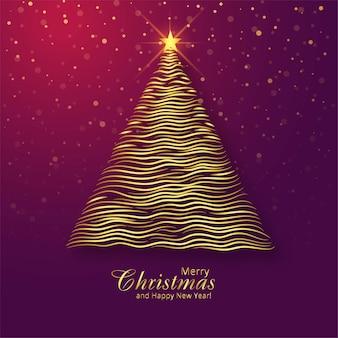 Fondo hermoso de la tarjeta del festival del árbol de oro de la feliz navidad