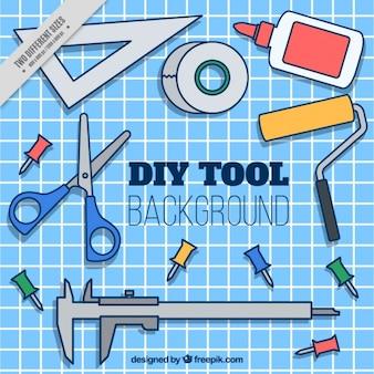 Fondo de herramientas dibujadas a mano para trabajos artesanales