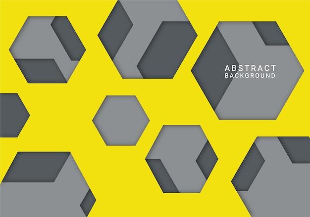 Fondo hexagonal abstracto moderno amarillo y gris