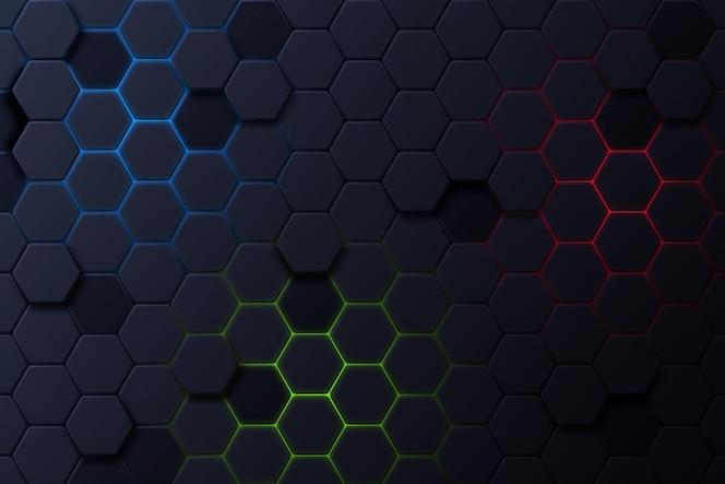 Fondo hexagonal oscuro con color degradado