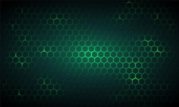 Fondo hexagonal de tecnología verde oscuro.