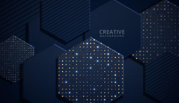Fondo de hexágono brillante moderno azul