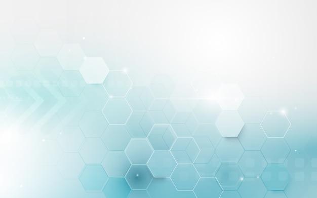 Fondo de hexágono geométrico abstracto azul