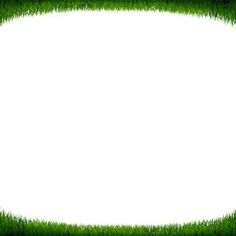Fondo de hierba verde marco blanco