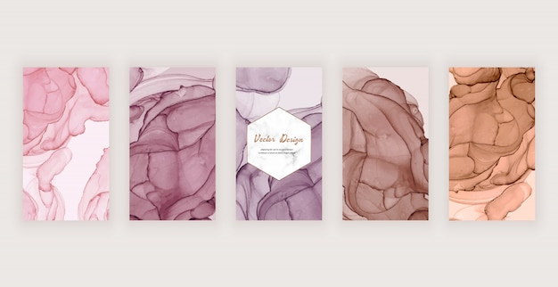 Fondo de la historia de instagram con textura de tinta abstracta rosa, marrón y desnuda y marco de mármol