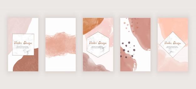 Fondo de historias de redes sociales de acuarela con formas de trazo de pincel a mano alzada abstracta desnuda y marcos de mármol