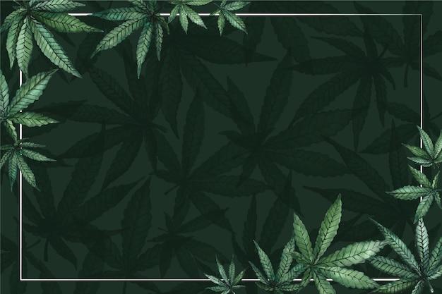 Fondo de hoja de cannabis acuarela con espacio vacío