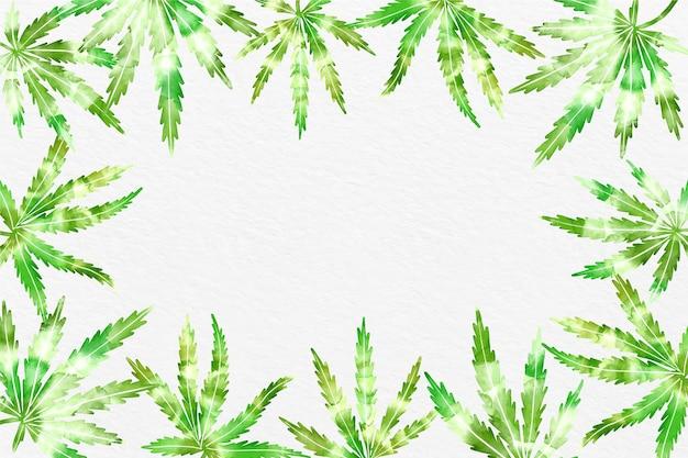 Fondo de hoja de cannabis en acuarela
