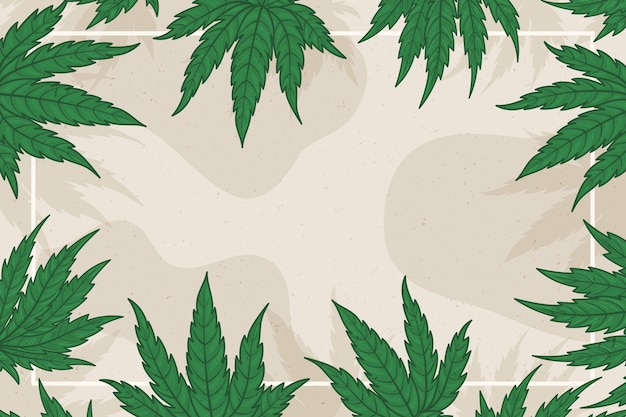 Fondo de hoja de cannabis de espacio de copia botánica
