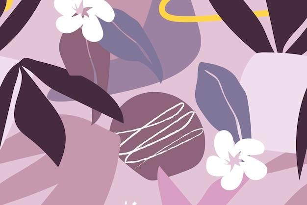 Fondo de hoja púrpura, vector de patrones sin fisuras