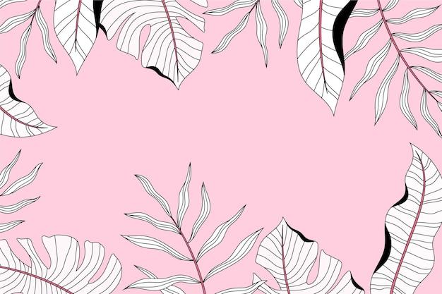 Fondo de hojas abstractas dibujadas a mano