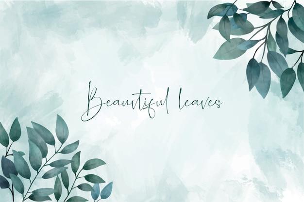 Fondo de hojas de acuarela elegante