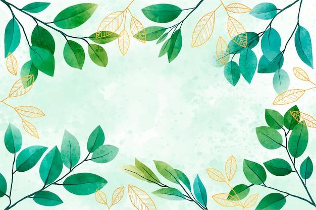 Fondo de hojas de acuarela con lámina dorada