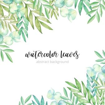 Fondo de hojas de acuarela verde