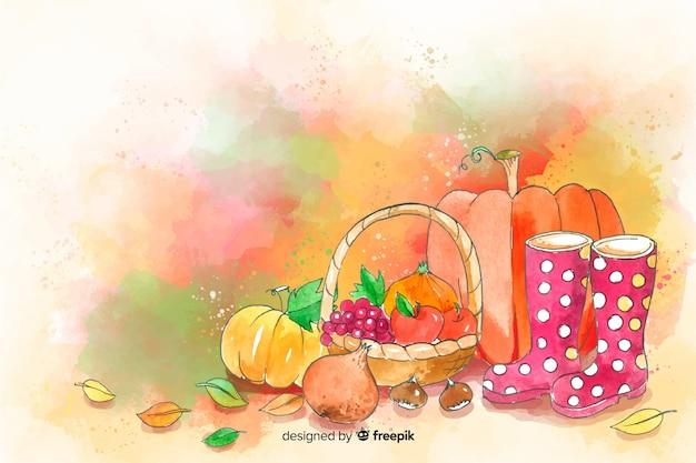 Fondo de hojas y alimentos otoñales en acuarela