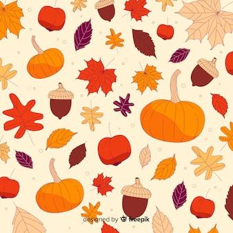 Fondo de hojas de bosque otoñal dibujadas