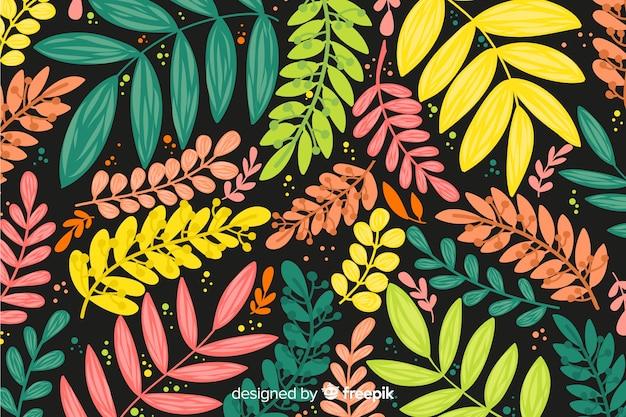 Fondo hojas coloridas dibujadas a mano