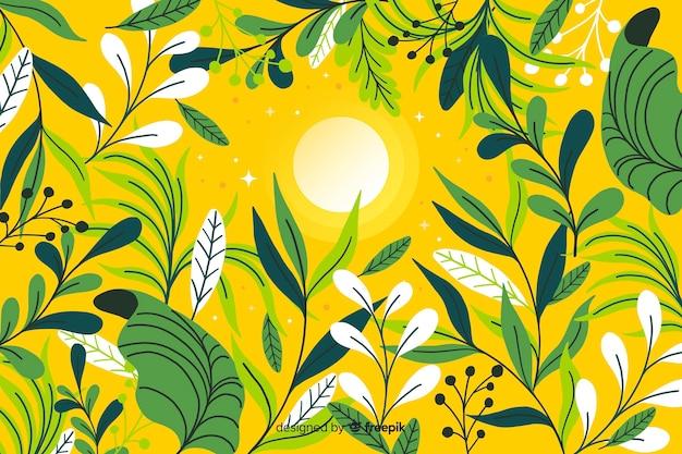 Fondo de hojas coloridas dibujadas a mano