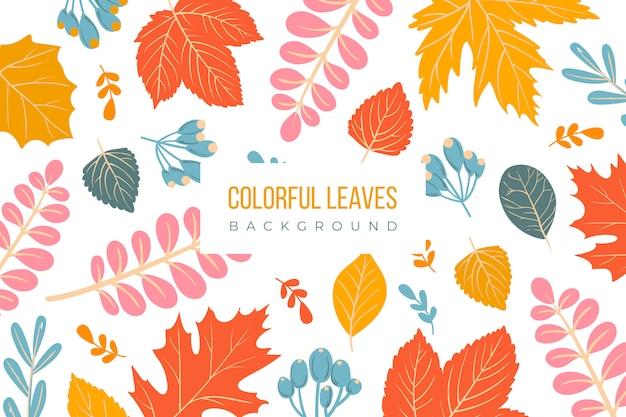 Fondo de hojas coloridas