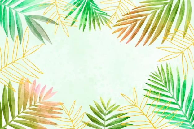 Fondo de hojas estilo acuarela con lámina dorada