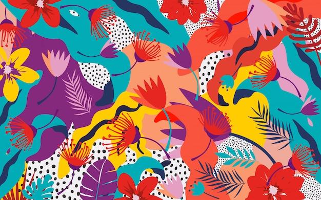 Fondo de hojas y flores de la selva tropical