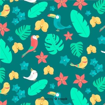 Fondo de hojas y flores tropicales