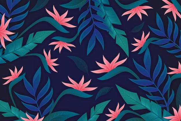 Fondo de hojas con flores tropicales