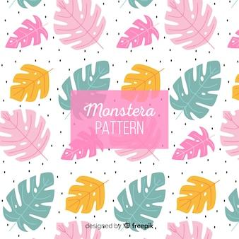Fondo hojas de monstera colores pastel