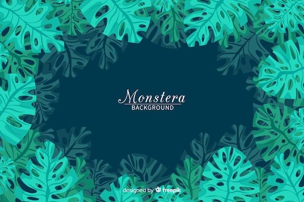 Fondo de hojas de monstera en diseño plano