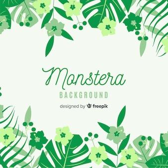 Fondo hojas de monstera y flores plano