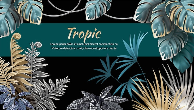 Fondo con hojas oscuras, palmeras y lianas, texto de muestra