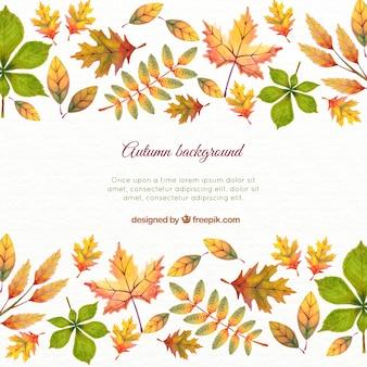 Fondo de hojas de otoño en acuarela con plantilla