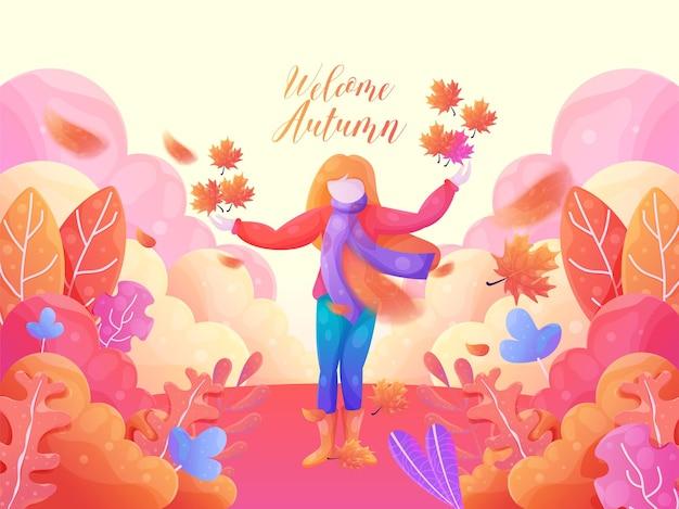 Fondo de hojas de otoño de bienvenida